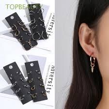 <b>4Pairs</b>/<b>Set</b> Gift Geometry Jewelry Charm <b>Round</b> Hoop Earrings ...