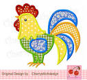 Rooster applique design