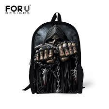 <b>FORUDESIGNS</b> Punk 3D <b>Black</b> Skull Print <b>Backpacks</b> Boys Casual ...
