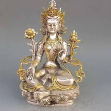 2019 <b>8.86 Inch/Tibet Silver Copper</b> Gilt Tibetan Buddhism Statue ...