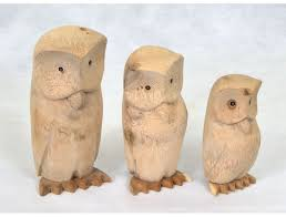 <b>Set of 3 Natural</b> Wood Owls - Hunter Furnishing