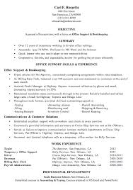 resume sample  office support and bookkeepingmore resume help