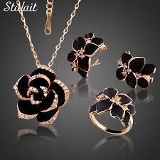 <b>Fashion</b> Rose Flower Enamel Jewelry Set <b>Rose Gold Color</b> Black ...