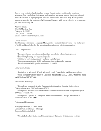 mortgage s manager resume