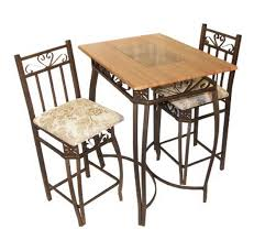 <b>3 Piece Bistro</b> Pub Set Round Table Counter Height Stools Wood ...