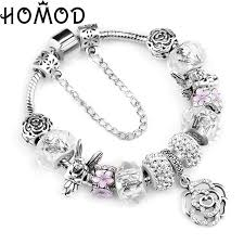 <b>HOMOD</b> Fashion Silver Rose Charms Bracelet Bangle <b>for</b> Women ...