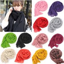 <b>Womens Cotton</b> Linen Crinkle Long Soft <b>Scarves</b> Wraps <b>Bufandas</b> ...