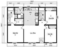 One Story House Plans   Open Concept   Eva     Square Feet    Simple Small House Floor Plans   Simple One Story House Plans  Storey Home Floor
