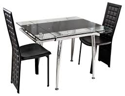round glass extendable dining table: modern design of expandable dining table set with glass surface table