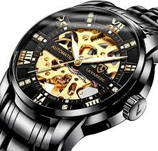 Men's Watch Black Mechanical Stainless Steel ... - Amazon.com