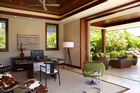 rattan patio furniture home office tropical with animal hide chaise lounge beige rug beige wall bi animal hide rugs home office traditional