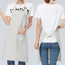 SINSNAN Brief <b>Adjustable Cotton Linen</b> Stripe Kitchen Apron For ...