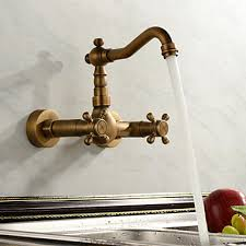 kitchen faucets wall mount:  antique inspired kitchen faucet wall mount antique brass finish
