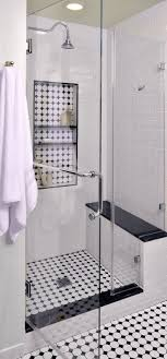 bathroom white tiles: shower bench and glass vintage inspired master bathroom interior designer carla aston tile makes a big impact in this re model black and white tile