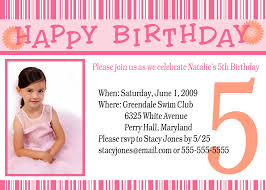 sample invitations for birthday party com pink 5th bday