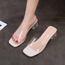 <b>2021 Summer New Transparent</b> High Heel Sandals Women's ...