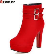 High Heels Boots Ankle Shoes <b>Women Footwear Flock Round</b> Toe ...