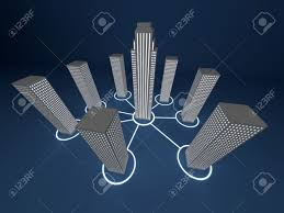 several connected building in a network stock photo picture and stock photo several connected building in a network