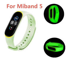 For Xiaomi Mi Band 5 <b>Two color</b> Luminous Wristband Solid Color ...