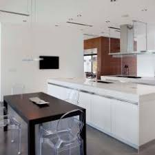 white kitchen windowed partition wall: white modern kitchen with dining table partition walls