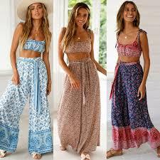 <b>Hirigin Summer</b> Wide Leg Pants Women Boho <b>Print</b> Loose Elastic ...