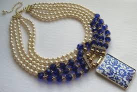Multi Strand Royal <b>Blue</b> Crystal <b>Pearl</b> Statement <b>Necklace</b> Big ...