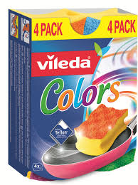 <b>Губка</b> для мытья посуды <b>Vileda</b> Пур Колорс, 4 шт — купить в ...