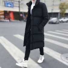 Fashion Casual <b>Men's Cotton</b> coat Winter Mid-length Pure Color ...