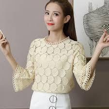 <b>2019 Summer Women</b> Shirt <b>Lace</b> Blouse Fashion Chiffion Blouses ...