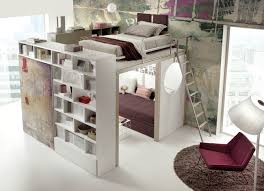living room with bed:   elevated bed
