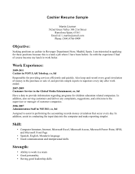 cashier objective resume examples shopgrat sample resume for cashier at retail store skill and strength cashier