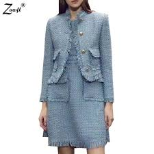 <b>High Quality Winter Women</b> Tweed 2 Piece Set Dress 2019 ...