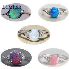 LUMPER Trendy Big <b>Oval Egg Shape</b> Blue Fire Opal Ring Cubic ...