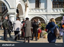 People near the Church of the Kazan Icon of the mother Of God in ...