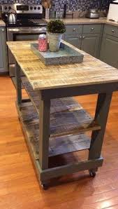 rustic kitchen island: rustic pallet kitchen island cart with adjustable shelf and wheels same as never http