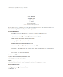 sample retail operations manager resume operation manager resume
