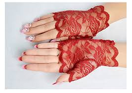 FloYoung Women Bridal Short Lace Half <b>Finger</b> Party Dress Gloves ...