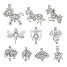<b>10pcs</b>/<b>lot</b> Silver Plated Mixed Animal <b>Shape Pearl</b> Cage Locket