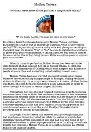 ideas about Mother Teresa Essay on Pinterest Pinterest Many state that Mother Teresa was close to perfection  In this lesson  students will