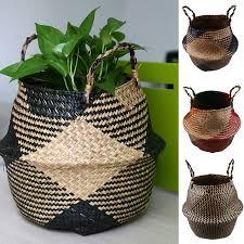 WHISM Foldable Handmade <b>Storage Basket</b> Folding <b>Wicker Rattan</b> ...
