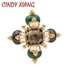 <b>CINDY XIANG</b> Freshwater Pearl Cross Brooches Unisex <b>Baroque</b> ...