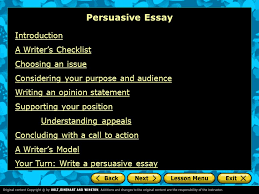 persuasive essay introduction a writers checklist choosing an  persuasive essay introduction a writers checklist choosing an issue considering your purpose and audience writing an