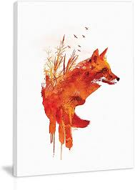 Abstract Fox On White Backgroud Wall Art Decor ... - Amazon.com