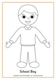 Small Picture School Boy Colouring Page