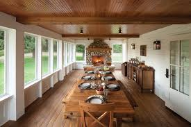 long wood dining table: long dining table porch farmhouse decorating ideas with stone fireplace farmhouse table