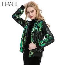 <b>HYH HAOYIHUI Autumn</b> Women Sequin Coat Green Bomber Jacket ...