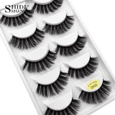 <b>SHIDISHANGPIN</b> 5 <b>pairs</b> eyelashes 3d <b>mink</b> lashes natural long 1 ...