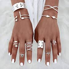 hunpta <b>6pcs</b>/Set Women Bohemian <b>Vintage Silver</b> Stack Rings ...