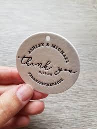 200 <b>Custom</b> letterpress <b>round</b> wedding thank you tags; wedding ...