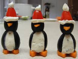Silly penguin appetizers for Christmas